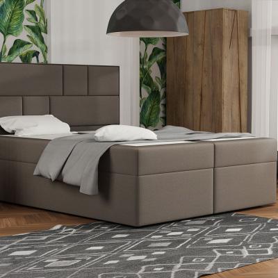Levné Dvoulůžka s matrací a roštem: Designová postel s úložným prostorem 180x200 MELINDA - hnědá 3