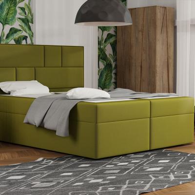 Levné Dvoulůžka s matrací a roštem: Designová postel s úložným prostorem 180x200 MELINDA - zelená