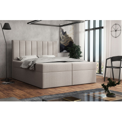 Levné Čalouněné dvojlůžka: Čalouněná postel boxspring 180x200 SAMANTA - béžová 1