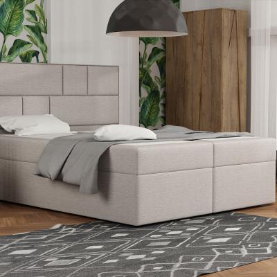 Levné Dvoulůžka s matrací a roštem: Designová postel s úložným prostorem 180x200 MELINDA - béžová 1