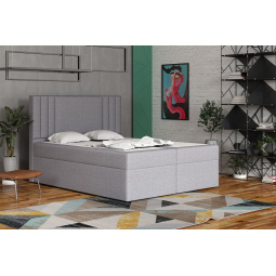 Levné Dvoulůžka s matrací a roštem: Americká postel 160x200 CARA - šedá 1