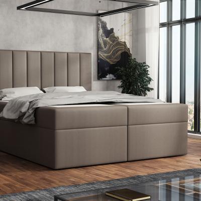 Levné Dvoulůžka s matrací a roštem: Čalouněná postel boxspring 180x200 SAMANTA - hnědá 1