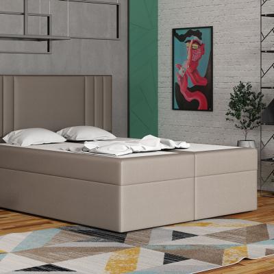 Levné Dvoulůžka s matrací a roštem: Americká postel 160x200 CARA - hnědá 1