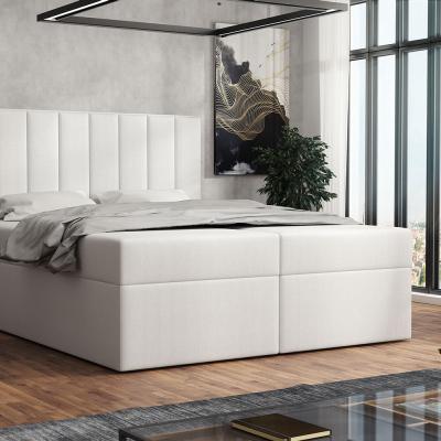 Levné Dvoulůžka s matrací a roštem: Čalouněná postel boxspring 160x200 SAMANTA - bílá