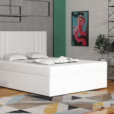 Levné Dvoulůžka s matrací a roštem: Americká postel 160x200 CARA - bílá